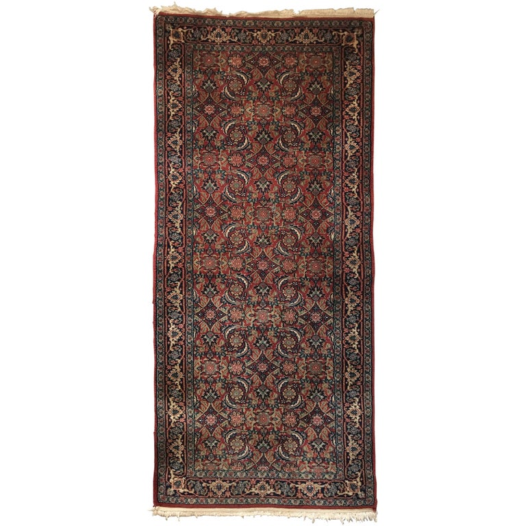 1930s Turkish Hali Runner Rug With Red And Blue Fl Motif For