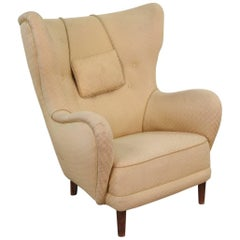 Mogens Lassen Style 1940s High Back Wing Chair
