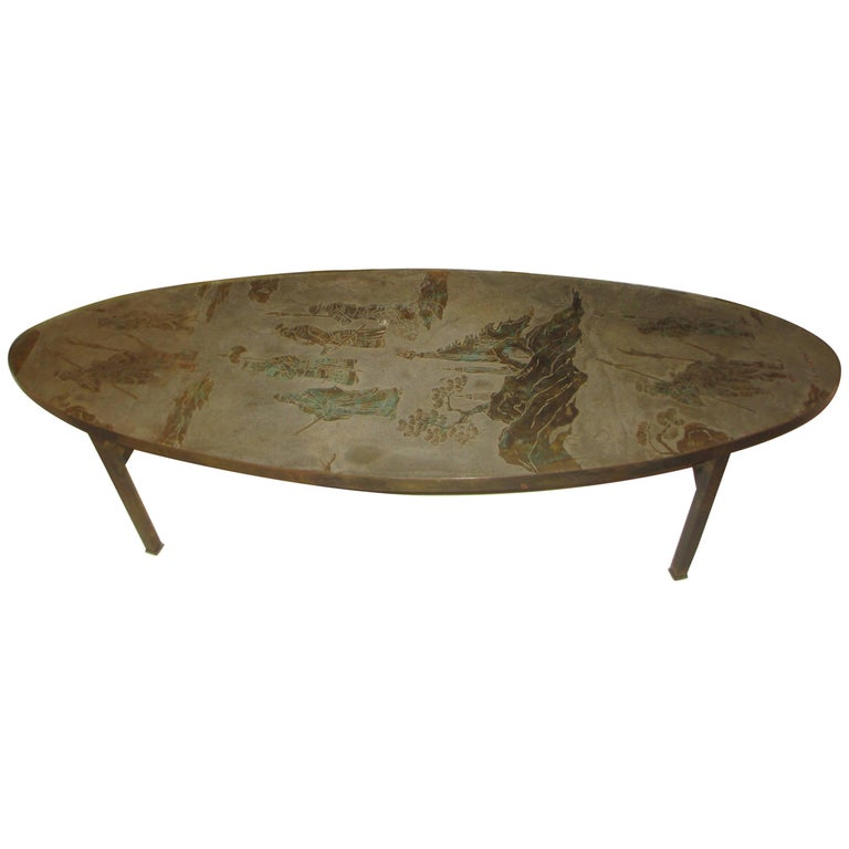 Philip and Kelvin LaVerne Signed Patinated Bronze Oblong Coffee Table 1