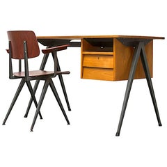 Prouve Inspired Industrial Desk and Chair Set