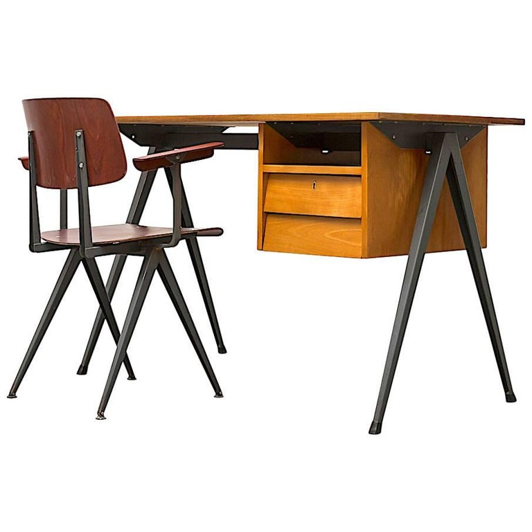Prouve Inspired Industrial Desk and Chair Set For Sale