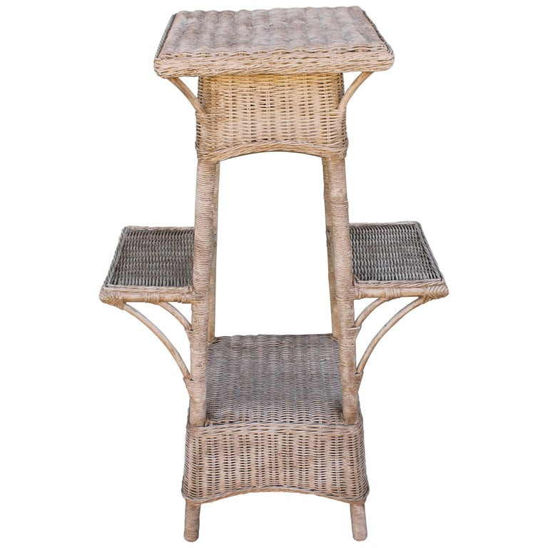 Bar Harbor Country Wicker Plant Stand At 1stdibs
