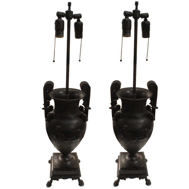 Pair of Empire Style Bronze Lamps 1