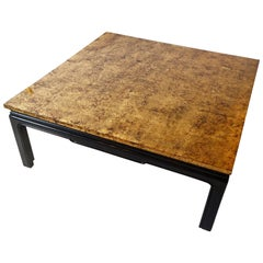 Large Black Lacquer and Gold Leaves Low Table Attributed to Maison Jansen, Paris