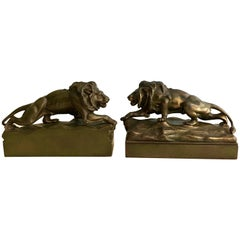 Pair of Bronze Lion Bookends Sculptures
