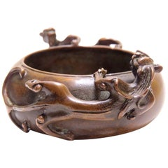 19th Century Bronze Wash, Dragon Censer, Signed Wu Yan Jin