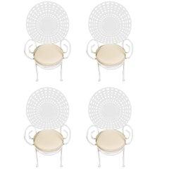 Four Fabulous Hollywood Regency Wrought Iron Sunburst Garden Armchairs