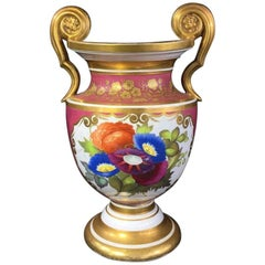 Porcelain Classical Vase with Superb Flower Panels Claret Ground, circa 1825