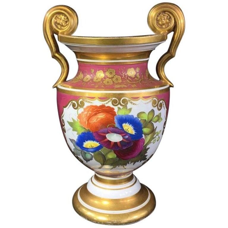 Porcelain Classical Vase with Superb Flower Panels Claret Ground, circa 1825 For Sale