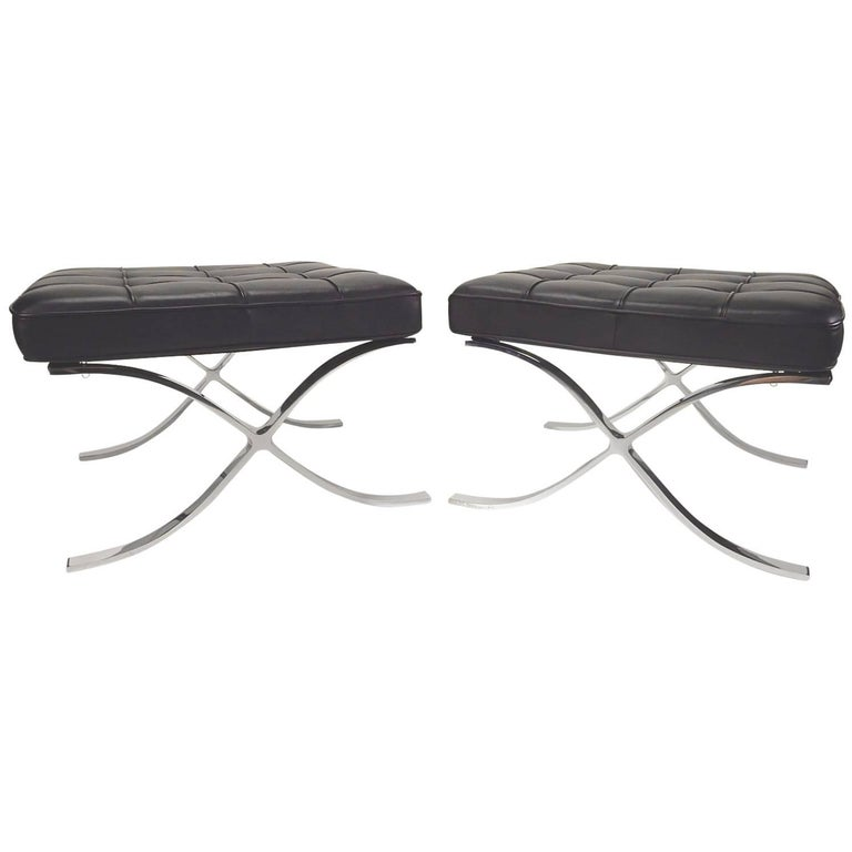 Barcelona Chair Ottomas by Ludwig Mies van der Rohe for Knoll