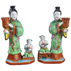 Pair of Rare Chinese Candlestick Figures, Ladies Children and Birds, circa 1780