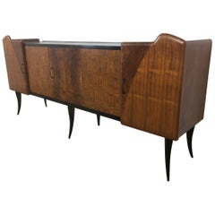 Mid-Century Italian Rosewood Sideboard Credenza with Stunning Front Panels