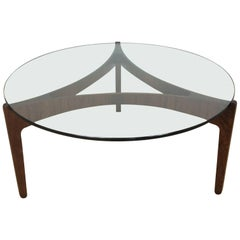 Mid-Century Danish Rosewood and Glass Table by Sven Ellekaer