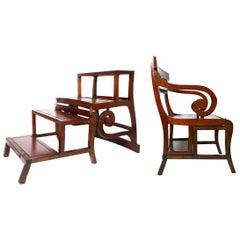 Antique Metamorphic Mahogany Library Chair, English Regency, circa 1810