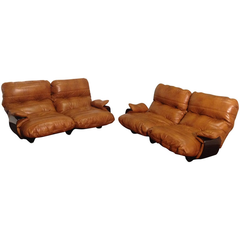 Cognac Leather Marsala Lounge Chairs by Michel Ducaroy for Ligne Roset, 1970s For Sale