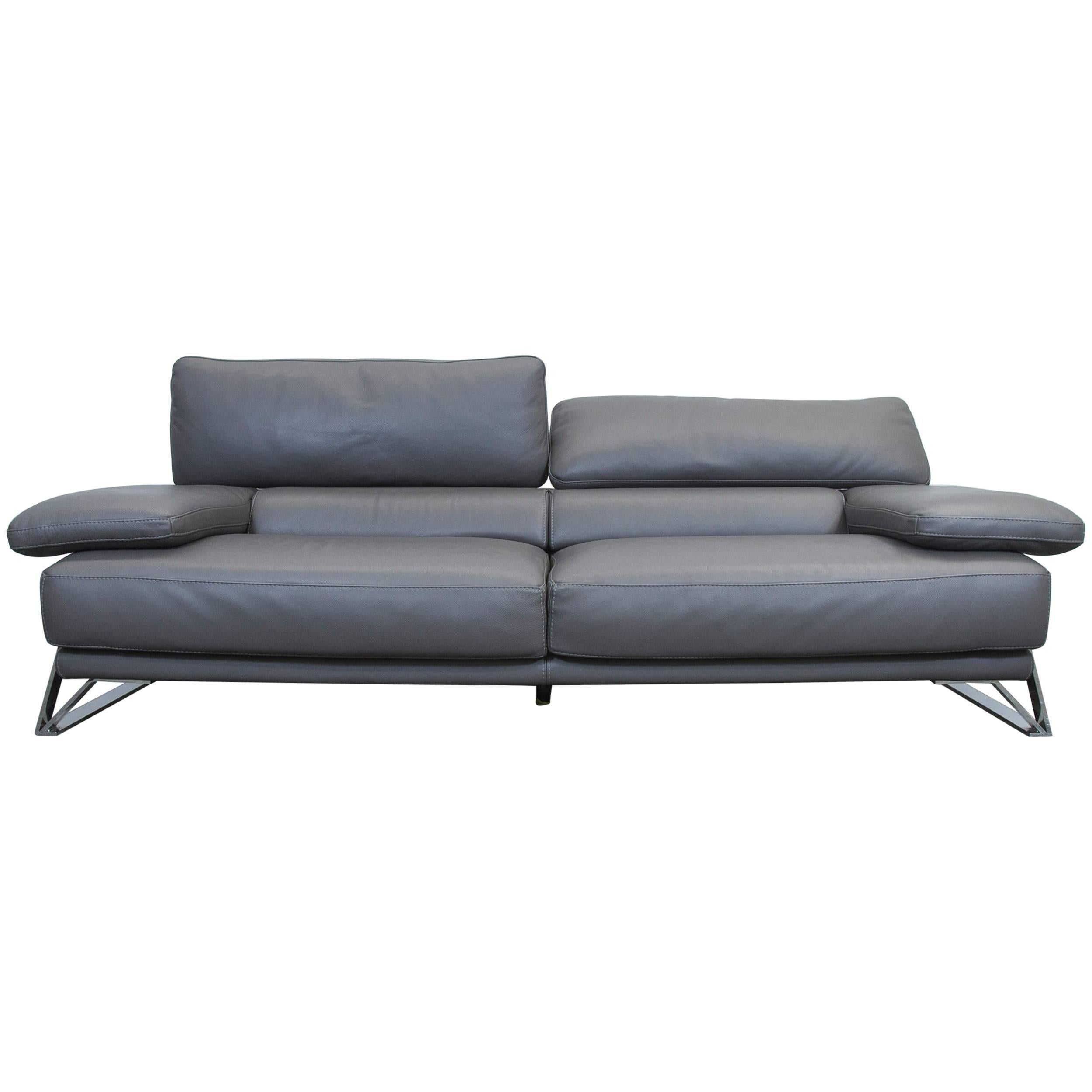 Roche Bobois Designer Sofa Grey Leather Three Seat Couch Function Modern