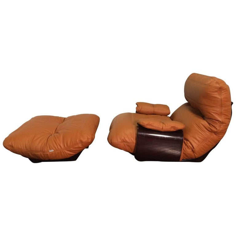 Cognac Leather Marsala Lounge Chair and Pouf by Michel Ducaroy for Ligne Roset For Sale