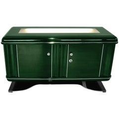 Illuminated Art Deco Dresser in Jaguar Racing Green