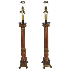 19th Century Pair of Large Polychrome Wood Floor Lamps