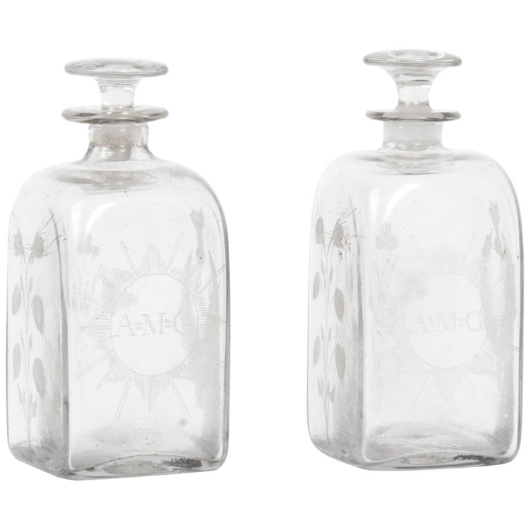 Early 20th Century Pair of Etched Glass Decanters Thistles