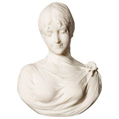 Hand-Carved Antique Italian White Marble Bust of a Young Lady by Cesare Lapini