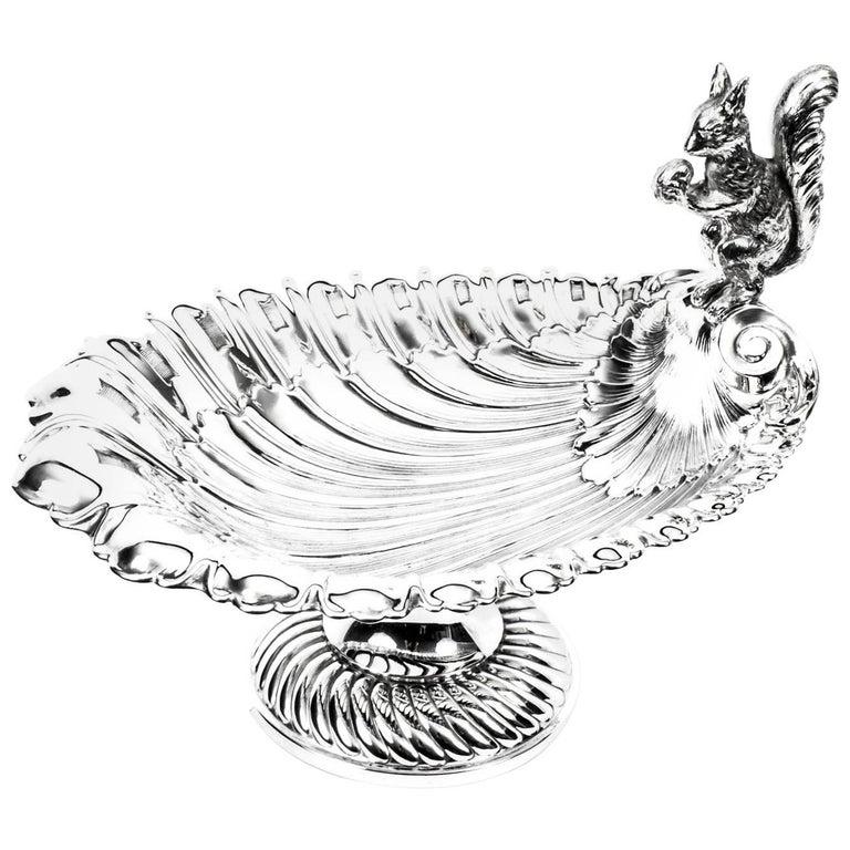 Antique Victorian Silver Plated Squirrel Nut Dish, circa 1900