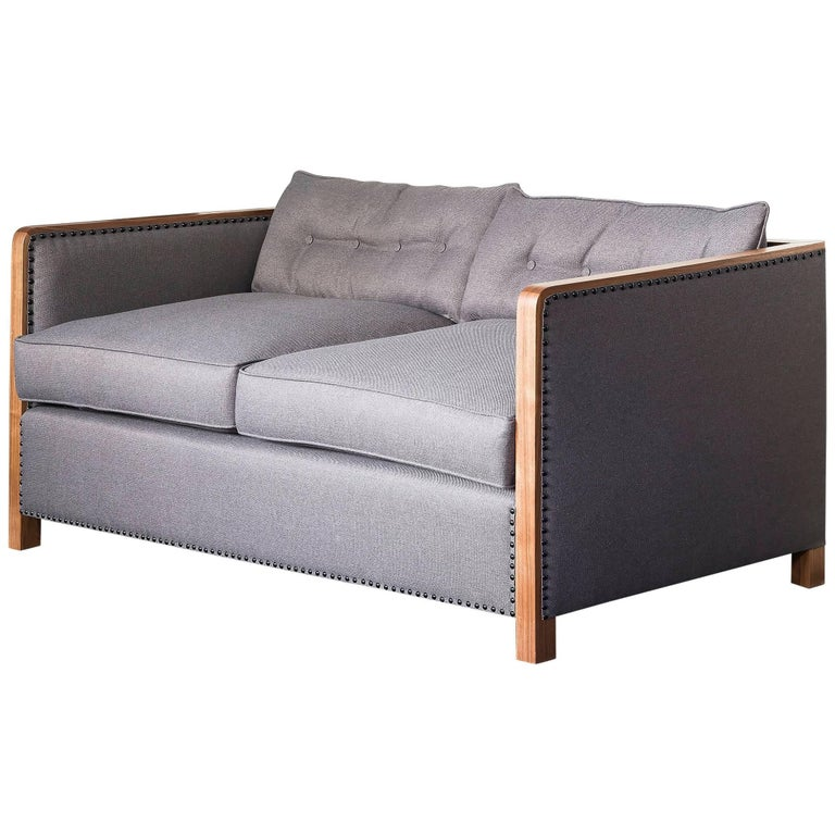 Art Deco Bacco Two-Seat Sofa in Natural Walnut, Linen and Gunmetal Studs For Sale