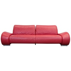 Hummel Designer Leather Sofa Red Three-Seat Function Couch Modern