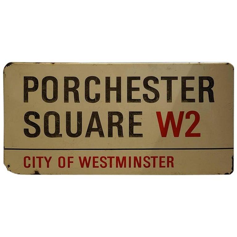 Original Enamel London Street Sign Porchester Square For