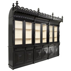 Large Napoleon III Black Bookcase or Cabinet