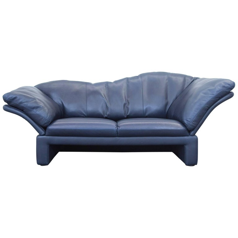 br hl and sippold designer leather sofa blue three seat. Black Bedroom Furniture Sets. Home Design Ideas