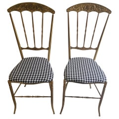 Beautiful Vintage Brass Chairs, New Upholstery