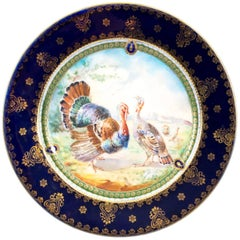 Early 20th Century Vienna Porcelain Cabinet Plate Turkeys