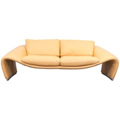 Chateau d'Ax Voga Designer Leather Sofa Yellow Two-Seat Couch Modern