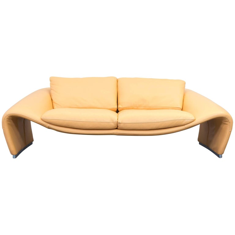Yellow Modern Leather Sofas: Chateau D'Ax Voga Designer Leather Sofa Yellow Two-Seat