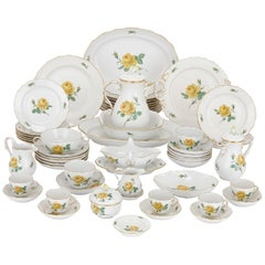 Fine Meissen Porcelain Large 12 Person Dessert Service with Floral Design