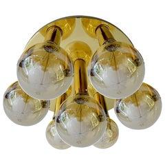 Large Gold Brass Flush Mount Lamp, Mid-Century Modernist Design