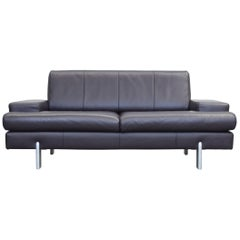 BMP Rolf Benz Designer Leather Sofa Aubergine Lilac Two-Seat Couch Modern