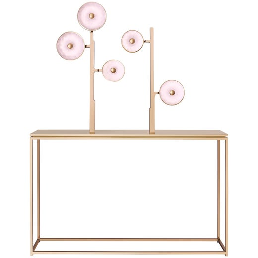 'JinShi Pink Jade Console #3', a Luminous Console with Five Pink Jade Heads