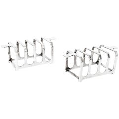 Antique Pair of Art Deco Mappin & Webb Toast Racks