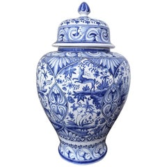 Blue and White Vase with Baroque Spanish Design