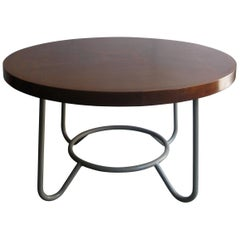 Art Deco Working Table with Wonderful Sucupira Top in a Light Grey Metal Base