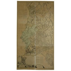 Large Antique Map of Portugal Dated 1762