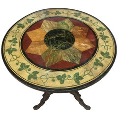 Napoleon III Painted Round Tilt-Top Table, Late 19th Century