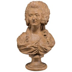 Antique French Terracotta Plaster Bust of Marie Antoinette, circa 1875