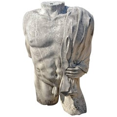 Hand-Carved Sculpture in Stone, Nude Man's Torso Provence, France