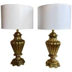 Fluted Brass Table Lamps