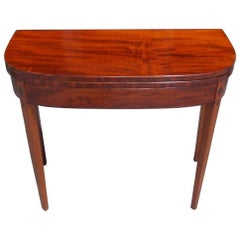 English Mahogany Demilune Ebony Inlaid Hinged Card Table, Circa 1790
