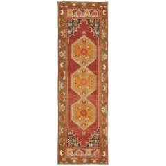Colorful Turkish Oushak Runner with Three Medallions in Red, Blue, Olive