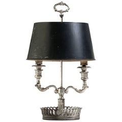 Turn of the Century French Silver Plate Bouillotte Lamp
